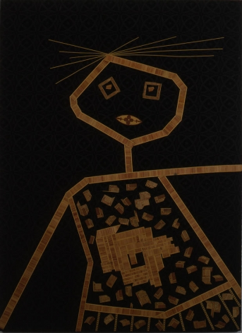 Personaggio 1962 collage, wood inlay on fabric on wood