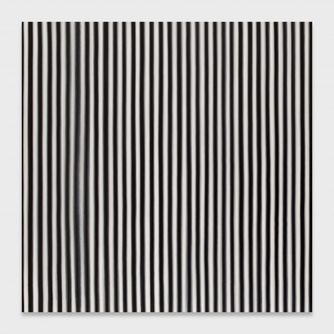 A black and white vertically striped painting on a square canvas.