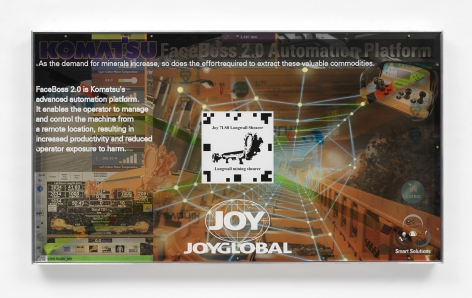Simon Denny, Joy Global semi-autonomous longwall coal mining 7LS8 shearer promotion screen video token