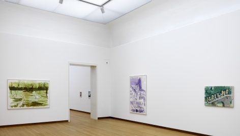 installation image of three works by THoms Eggerer hanging in a gallery at the Stedelijk musuem.