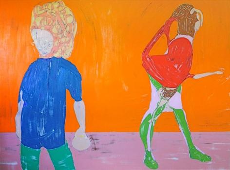 Two Figures on Orange