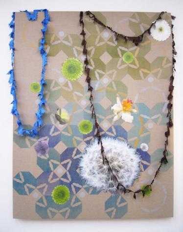 Untitled 2007 Silkscreen on unprimed linen, inkjet on canvas, polyester shantung
