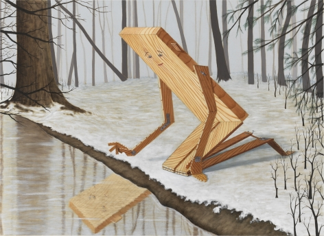 A horizontal painting of Plank Boy kneeling in snow in a forest staring at their reflection in a stream.