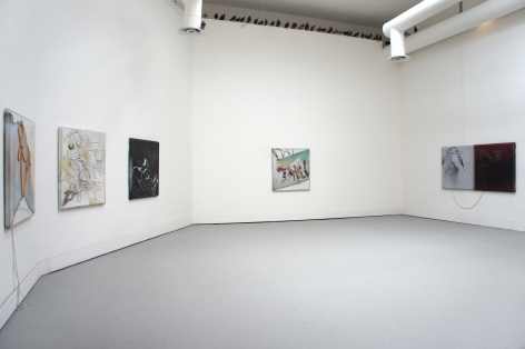 Assorted square works of the same size hung on the walls of a pentagon-shaped room. The top of one wall is lined with black birds.