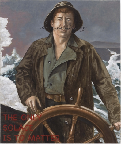 "portrait of man at the wheel of a ship. his mustache is long and is formed into cursive ""sincere irony"". in the lower left corner in read reads: the only solace is to matter"