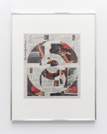 New York Times collage where the top layer of the front page is cut away in concentric circles to reveal a Cartier advertisement underneath.