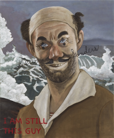 "Portrait of man with ocean and crashing waves in the background. He looks like a clown and has a mustache. the mustache extends into cursive writing on each side reading ""sean Landers"". in the lower left corner in painted in red is text that reads ""I am still this guy""."