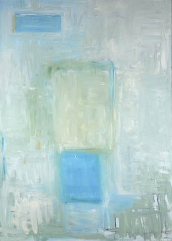 Katherine Parker, Slippage, 2017,  Oil on canvas,  84 x 60 inches. Abstract work with painterly marks in light blue, white and green. Katherine Parker is known for her large vividly painted canvases which are characterized by layers of stumbled and abraded oil paint.