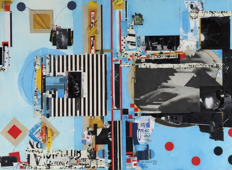 Sam Middleton, Rhythm and Blues, 1999,  Mixed media and collage on paper,  30-3/4 x 41-3/4,  Signed and dated lower right. Mixed media piece with black and white photographs, music notes, and geometric shapes in primary colors. Sam Middleton was one of the leading 20th-century American artists, and is a mixed-media collage artist.