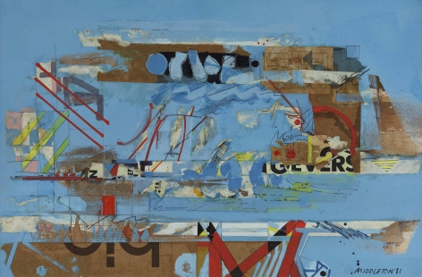 Sam Middleton, London Bridge, 1981,  Mixed media and collage on paper,  20-1/4 x 30-1/2,  Signed and dated lower right. Collage piece with brown cardboard, blue paint and geometric squares and triangular shapes in red and green. Sam Middleton was one of the leading 20th-century American artists, and is a mixed-media collage artist