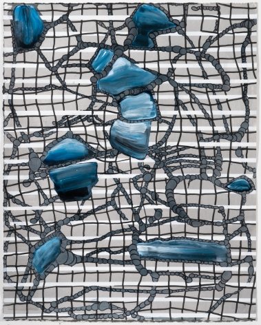 Lisa Corinne Davis, Immaterial Infrastructure, 2017, Acrylic on paper, 18 X 15 inches, Distorted black grid lines with multi-layered blue shapes on top. Lisa Corinne Davis's paintings show her fluency in adapting abstract forms to express meaning.