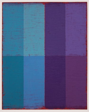 Steven Alexander, P19-18, 2018, Oil & acrylic on paper, 10 x 8 inches. Eight equal sized rectangles, in blue, light blue, purple and lavender stacked on top of the same colors in a slightly darker hue. Steven Alexander is an American artist who makes abstract paintings characterized by luminous color, sensuous surfaces and iconic configurations.