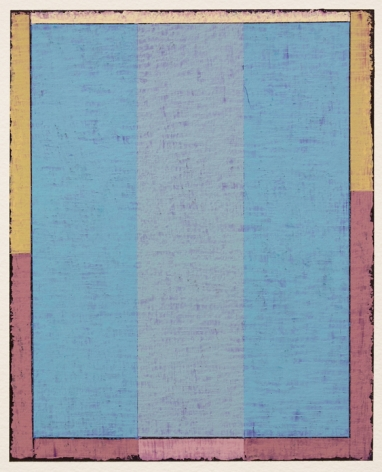 Steven Alexander, Untitled (P3-18), Oil and acrylic on paper, 10 x 8 inches. Framed blue box with pink and yellow edges. Textured dark eyes and lines that separate the other colors. Steven Alexander is an American artist who makes abstract paintings characterized by luminous color, sensuous surfaces and iconic configurations.
