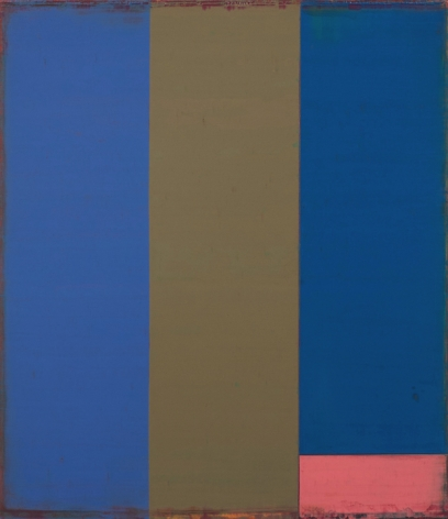 Steven Alexander, Metro 1, 2014,  Oil and acrylic on canvas, 30 x 26 inches. Three vertical rectangles in blue and oak with small horizontal pink rectangle in the bottom right. Steven Alexander is an American artist who makes abstract paintings characterized by luminous color, sensuous surfaces and iconic configurations.