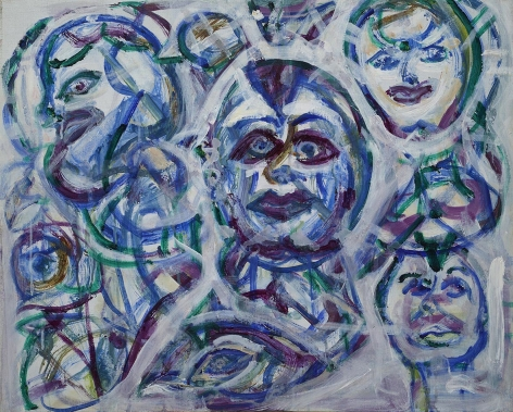 Herbert Gentry, Among My Friends, 2000,   Acrylic on canvas, 24 x 30 inches. Abstract painting with multiple faces painted in thick brush strokes of purple, blue, green and white. Herbert Gentry painted in a semi-figural abstract style, suggesting images of humans, masks, animals and objects caught in a web of circular brush strokes, encompassed by flat, bright color.