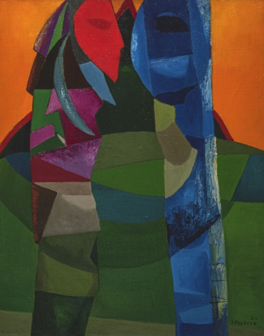 Felrath Hines, Totem, 1950, Oil on canvas, 30 x 24 in., Signed and dated, lower right. Cubist figures at the forefront of the composition, the right one mostly blue, and the left one pink, purple and green create totem poles. Felrath Hines worked to create universal visual idioms from a place of complex personal experience. Hines's figurative and cubist-style artwork morphed into soft-edged organic abstracts as he grappled with hues in his chosen oil medium.
