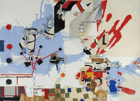 Sam Middleton, Polka Dots, 1991, Mixed media collage, 30 3/8 x 41 5/8 in., Signed and dated, lower right. Abstract and gestural work with red, black and white painterly marks, slashes, splatters and circles. Sam Middleton was one of the leading 20th-century American artists, and is a mixed-media collage artist.