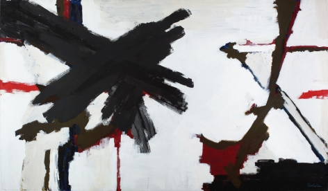 Judith Godwin, Crusade, 1977,  Oil on canvas,  50 x 90 inches, Abstract work with red, white and black, Judith Godwin uses the gestural methods and expressive color of abstract expressionism to convey her responses to life and nature.