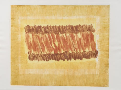 Felrath Hines,  Untitled, 1982, Monotype, 19.5 x 24 inches. Yellow, mustard and red brush strokes. Felrath Hines worked to create universal visual idioms from a place of complex personal experience. His figurative and cubist-style artwork morphed into soft-edged organic abstracts as he grappled with hues in his chosen oil medium.