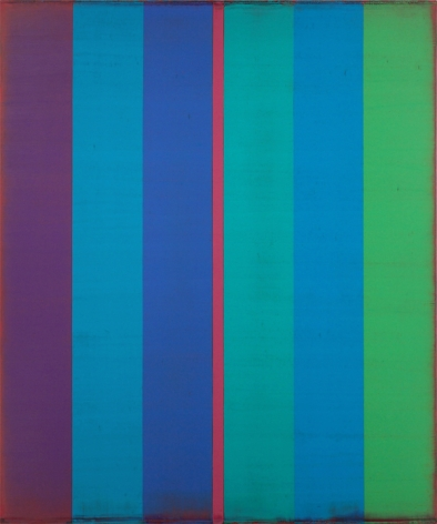 Steven Alexander, Is & Was, 2017, Oil and acrylic on linen,60 x 50 inches, 6 Vertical rectangles in purple, blue and green, split in the middle with a pink stripe. Steven Alexander is an American artist who makes abstract paintings characterized by luminous color, sensuous surfaces and iconic configurations.