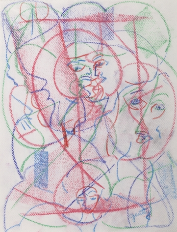 Herbert Gentry, Dialogue Series B, 1993,  Pastel and colored pencil on paper,  12 x 9 1/2 inches,  Signed lower right. Abstract figural portrait with multiple faces composed of blue, red and green lines. Textured red marking in the foreground. Herbert Gentry painted in a semi-figural abstract style, suggesting images of humans, masks, animals and objects caught in a web of circular brush strokes, encompassed by flat, bright color.