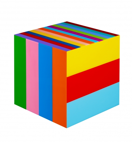 Heidi Spector, Our Love Song, 2019, Liquitex with resin on Birch panel, 12 x 12 x 12 inches, Signed, titled and dated on the verso, 3-D cube with colorful vertical stripes on each side, set in a glass-like surface, Heidi Spector creates geometric minimalist art inspired by musical rhythms that are composed of repetitive shapes in candy-like colors that vibrate.