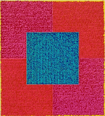 Louise P. Sloane, IN THE PINK, 2015 ,40 x 34 inches, Acrylic paint and pastes on aluminum panel, four squares and a central square (red, pink and blue) with personal text written over the squares in red and pink to create three dimensional texture. Louise P. Sloane has been creating abstract paintings since 1974, embracing minimalist techniques and the beauty of color and texture.