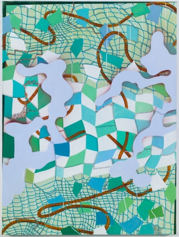 Lisa Corinne Davis, Semblant Sector, 2015, Oil on canvas,60 x 45 inches, Blue distorted grid lines with white, turquoise and green cubed pattern on top, Lisa Corinne Davis's paintings show her fluency in adapting abstract forms to express meaning.