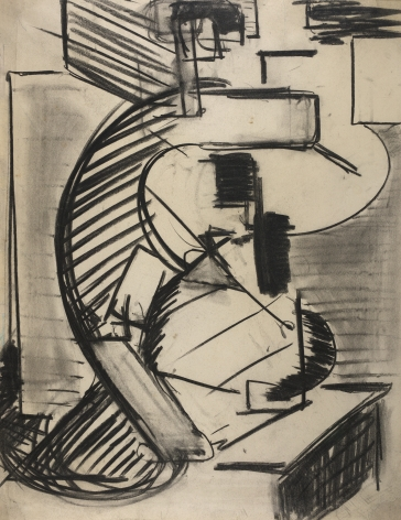 Mercedes Matter, Tudor City, 1928, Charcoal on paper, gestural charcoal drawing, Mercedes Matter was an American Abstract Expressionist painter.