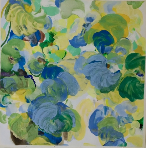 Jasmina Danowski,Singing a New Song, 2017, Ink and gesso on paper, 40 x 40 inches, Signed and titled verso, Abstract and organic painterly marks in blue, green, yellow and white, Jasmina Danowski creates abstract paintings that are rich in color and texture.