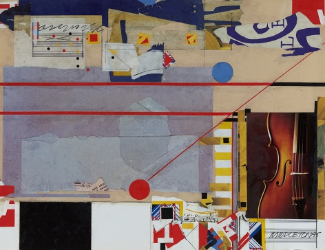 Sam Middleton,  Strings, 1995,  Mixed media and collage,  19-3/8 x 25 inches, Signed and dated lower right. Abstract work with cut out photographs, and geometric shapes in primary colors. Sam Middleton was one of the leading 20th-century American artists, and is a mixed-media collage artist.