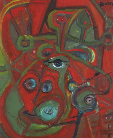 Herbert Gentry, The Family,   Acrylic on canvas,  24 x 19 1⁄2 inches, Signed upper right: Gentry. Abstract work with organic forms in green, blue and red. Herbert Gentry painted in a semi-figural abstract style, suggesting images of humans, masks, animals and objects caught in a web of circular brush strokes, encompassed by flat, bright color.