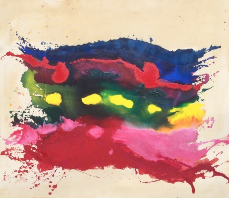Pat Lipsky, Nirobi, 1969, Acrylic on canvas, 41x36 inches, Signed, titled and dated on the verso, Abstract work with navy blue, green, yellow, pink and red marks and splatters. Pat Lipsky is an American Color Field, and Abstract artist.