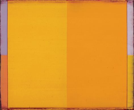 Steven Alexander, Reverb 20, 2017, Oil and acrylic on canvas, 22 x 18 inches, Signed and titled on the verso, SOLD, Vertical rectangles in yellow and orange with light lilac and orange border, Steven Alexander is an American artist who makes abstract paintings characterized by luminous color, sensuous surfaces and iconic configurations.