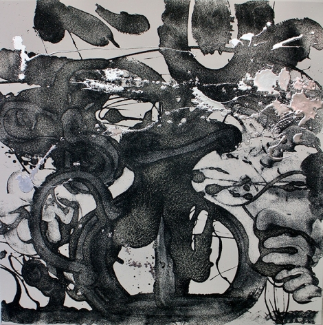 """Catherine Howe, """"Carborundum and Silver (violet)"""", 2016  36 x 36 inches, acrylic, carborundum grit, encaustic, metal leaf, on canvas. Abstract work with movement and gestural strokes on the canvas in black, grey and silver. Catherine Howe has produced sumptuously inviting yet socially-decadent conflations made in the name of painterly reflection. She has painted some variation of expressionist figuration, usually with readily-apparent allusions to art history."""