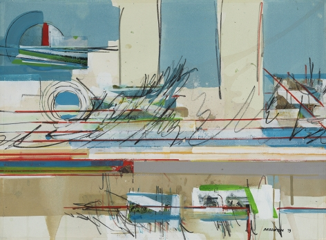 Sam Middleton, Declassified, 1973,  Mixed media and collage on paper,  15-1/2 x 20-7/8,  signed and dated lower right. Abstract work with gestural marks in blue, red, yellow and green. Sam Middleton was one of the leading 20th-century American artists, and is a mixed-media collage artist