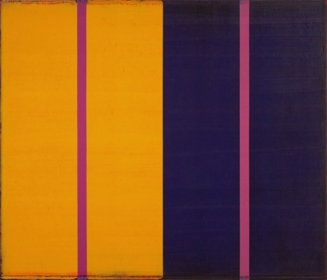 Steven Alexander, Voice 6, 2017, Oil and acrylic on canvas, 36 x 42 inches, Signed and titled on the verso, Vertical rectangles in yellow and navy blue with two pink vertical stripes down the middle, Steven Alexander is an American artist who makes abstract paintings characterized by luminous color, sensuous surfaces and iconic configurations.