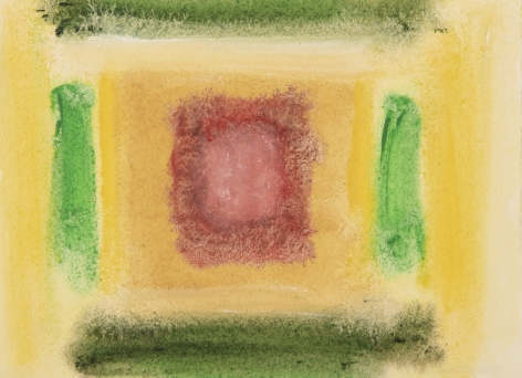 Felrath Hines, Untitled,  Watercolor on paper, 5 x 7 inches, Unsigned. Multi-color green, yellow and red vertical and horizontal organic rectangles. Felrath Hines worked to create universal visual idioms from a place of complex personal experience. His figurative and cubist-style artwork morphed into soft-edged organic abstracts as he grappled with hues in his chosen oil medium.