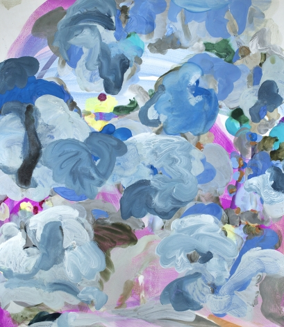 Jasmina Danowski, Beyond Believe II, ink, gesso on paper,  59 3⁄4 x 51 3⁄4 inches, Abstract and organic painterly marks in blue, light blue-grey, and violet, Jasmina Danowski creates abstract paintings that are rich in color and texture.