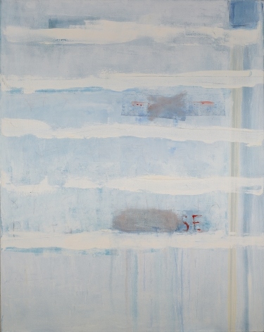 Katherine Parker,  Use Me Up, 2017,  Oil on canvas,  60 x 48 inches. Abstract work with white horizontal painterly marks and layers of oil paint. Katherine Parker is known for her large vividly painted canvases which are characterized by layers of stumbled and abraded oil paint.