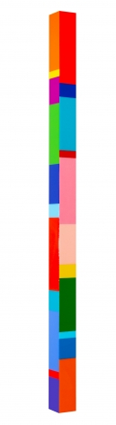 Heidi Spector, Kisses Warm and Deep, 2019, Liquitex with resin on Birch panel, 60 x 3 x 3 inches, Signed, titled and dated on the verso, Long vertical panel with colorful rectangles set in a glass-like surface, Heidi Spector creates geometric minimalist art inspired by musical rhythms that are composed of repetitive shapes in candy-like colors that vibrate.