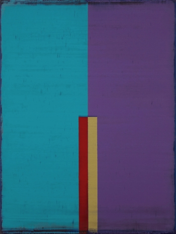 Steven Alexander, CHAMELEON 11, 2017, Oil and acrylic on canvas, 32 x 24 inches. Vertical rectangles in blue and purple with smaller red and yellow rectangles on top. Steven Alexander is an American artist who makes abstract paintings characterized by luminous color, sensuous surfaces and iconic configurations.