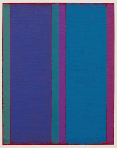 Steven Alexander, P13-18, 2018,  Oil & acrylic on paper, 10 x 8 inches. Six thick and thin vertical rectangles in blues and pinks with thin magenta edges. Steven Alexander is an American artist who makes abstract paintings characterized by luminous color, sensuous surfaces and iconic configurations.