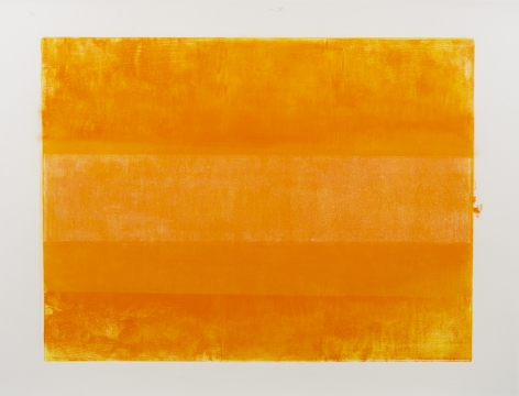 Felrath Hines, Untitled, 1981,  Monotype, 18 x 24 inches. Bright orange vertical rectangles.  Felrath Hines worked to create universal visual idioms from a place of complex personal experience. His figurative and cubist-style artwork morphed into soft-edged organic abstracts as he grappled with hues in his chosen oil medium.