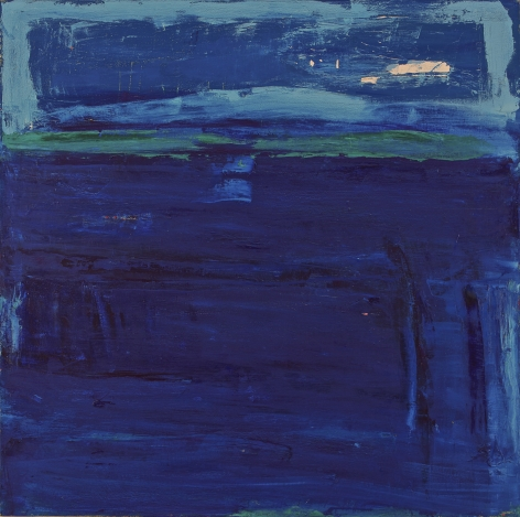 Katherine Parker, Chute, Oil on canvas, 48 x 48 inches, Abstract painting with various hues of blue and rectangular marks , Katherine Parker is known for her large vividly painted canvases which are characterized by layers of stumbled and abraded oil paint.
