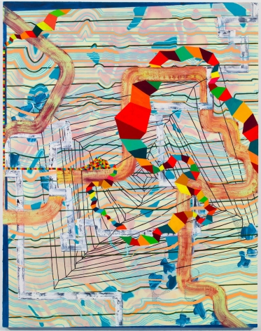 Lisa Corinne Davis, Analytic Anarchism, 2017, Oil on canvas, 72 X 54 inches, Black, blue, and orange horizontal lines underneath colorful curving lines and trapezoids, Lisa Corinne Davis's paintings show her fluency in adapting abstract forms to express meaning.