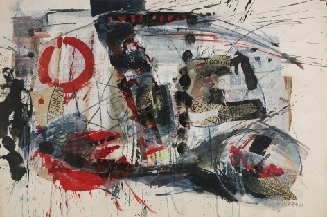 Sam Middleton, Social Realism, 1964,  Mixed media and collage on paper,  20 x 30 inches,  SOLD. Abstract and gestural work with red, black and white painterly marks, slashes, splatters and circles. Sam Middleton was one of the leading 20th-century American artists, and is a mixed-media collage artist.