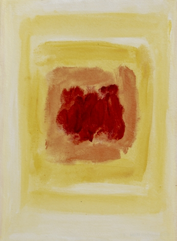 Felrath Hines, Untitled,  Watercolor on paper, 7 x 5 inches,  Unsigned. Pastel yellow, yellow and red painterly rectangles on vertical paper. Felrath Hines worked to create universal visual idioms from a place of complex personal experience. His figurative and cubist-style artwork morphed into soft-edged organic abstracts as he grappled with hues in his chosen oil medium.