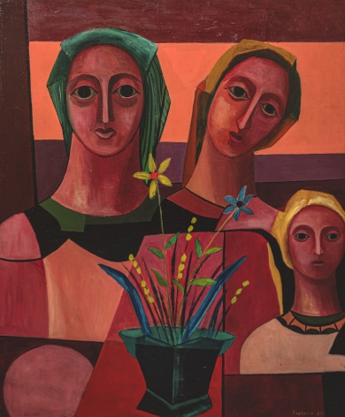 Felrath Hines, Three Figures, 1947, Oil on canvas, 36 x 30 in., Signed and dated, lower right. Three female cubist figures are set behind a small floral arrangement, looking directly at the viewer. Felrath Hines worked to create universal visual idioms from a place of complex personal experience. Hines's figurative and cubist-style artwork morphed into soft-edged organic abstracts as he grappled with hues in his chosen oil medium.