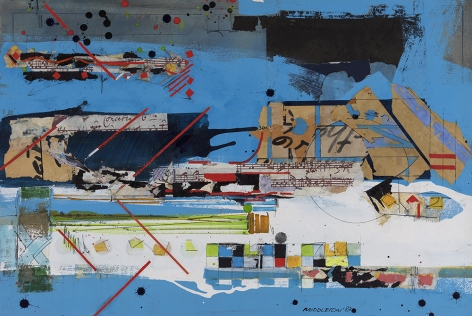 Sam Middleton, Concerto, 1983  Mixed Media on paper  20 x 30 inches  Signed and dated lower right. Abstract work with geometric squares, angled lines and spheres. Sam Middleton was one of the leading 20th-century American artists, and is a mixed-media collage artist.